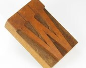 Vintage Wood Letter W - Printmaker Block for Stamping on PMC - Letter W Printing Stamp - Large Wood Letter W - Ceramic Clay Stamp - Collage