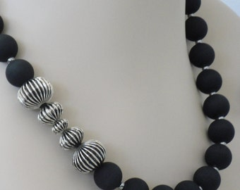 Silver Metal and Black Asymmetrial Statement Necklace - ON SALE - 75% OFF