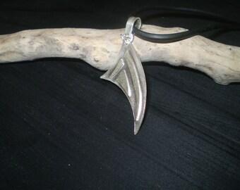 Handmade beach style sterling silver layered pendant.