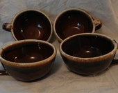 McCoy Brown Dripware: Soup Cereal Bowls with Handles (Vintage)