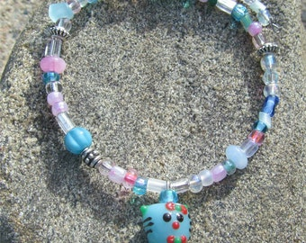 Aqua/Pink bead Bracelet with Kitty Dangle