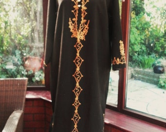 SALE   Vintage 1970s Morrocan kaftan black gold embroidered - free size