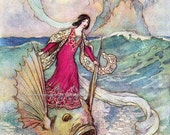 Princess Rides on Enchanted Dolphin Fabric Block - Repro Warwick Goble Illustration