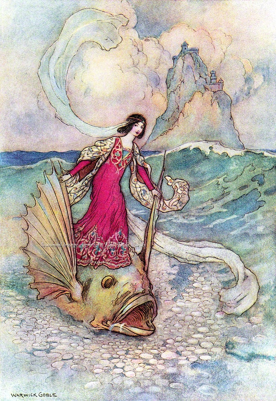 Princess Rides on Enchanted Dolphin Fabric Block - Repro Warwick Goble Illustration