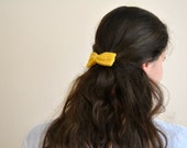 Honey - Thanksgiving gift - mustard yellow bow, crochet hair accessory, honey colored hair clip, hair adornment fascinator Etsy UK