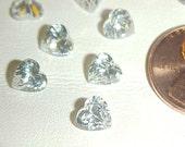 6 Vintage Genuine Cubic Zirconia 1 Carat Heart 6mm. Gem Jewels E21