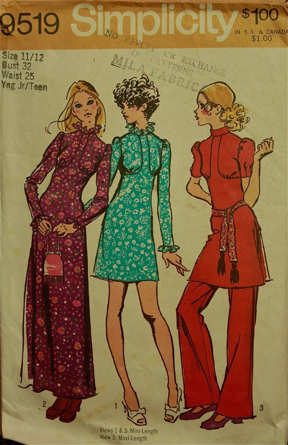 1970s Ruffled Vintage Look Maxi Dress Simplicity Pattern 9519  Size 11/12  Bust 32""