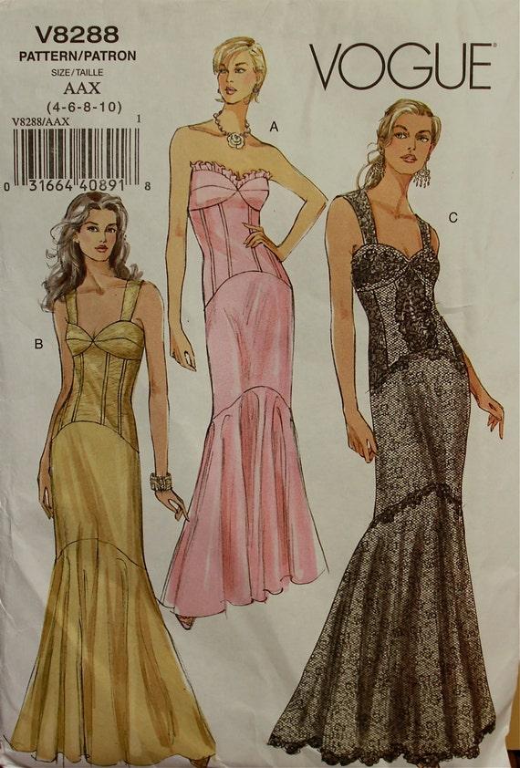 """Evening Gown Vogue Pattern 8288  Uncut Sizes 4-6-8-10  Bust  29.5-30.5-31.5-32.5"""""""