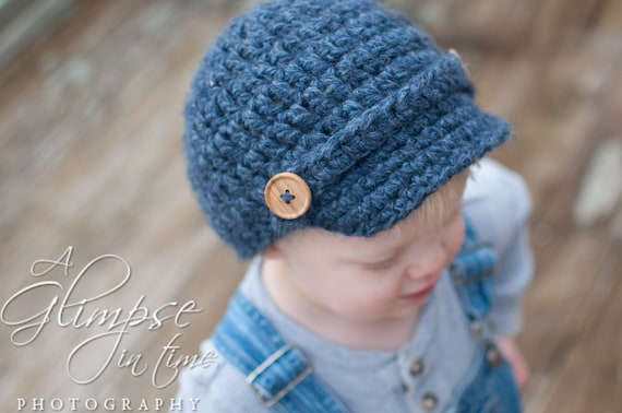 Crocheted Baby Boy or Child Newsboy Cap Hat with Wood Button Detail