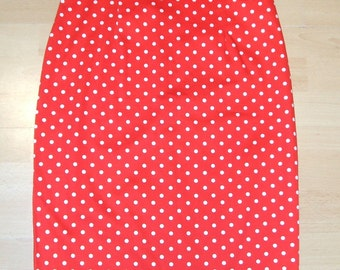 Baylis & Knight Red Polka LOLA High Waisted Wiggle Pencil Skirt Dita Burlesque Pin Up 50's Rockabilly