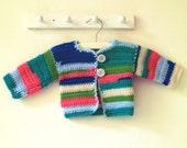 SALE Crocheted striped vest / jacket newborn baby girl 25% discount