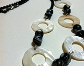 Shell and Glass Necklace with Black Loop Chain