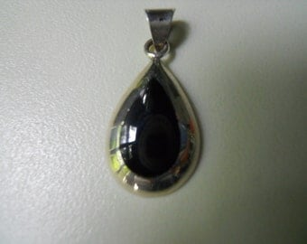 Vintage Black Onyx Sterling Silver Pendant