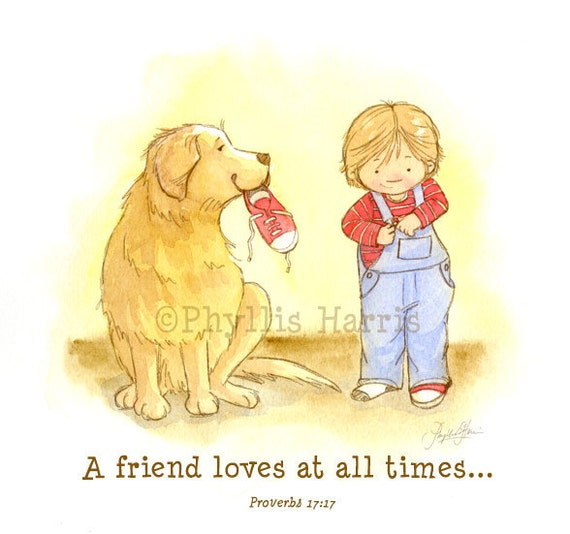 Children's Wall Art Print  - A friend loves at all times illustration (Golden Retriever and little boy), Customizable Hair Color