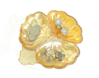 Vintage Iridescent Depression Glass Clover Bowl Trinket Tray bedside table tray Jewelry catch all peachy Marigold Color