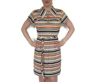 Vintage 1970's Collared Short Sleeved Dress with Brown Multi Colored Stripes color