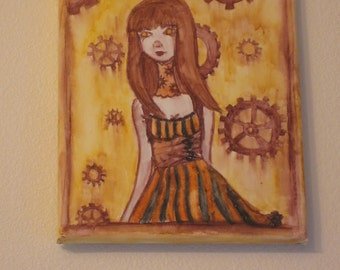 Original Steampunk Watercolor painting