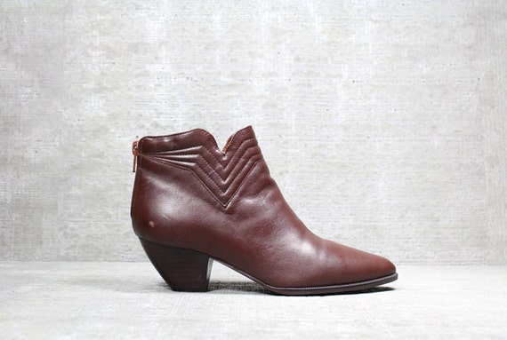 Vtg 80s Brown Leather Avant Garde Futuristic Quilted Ankle Boots 6