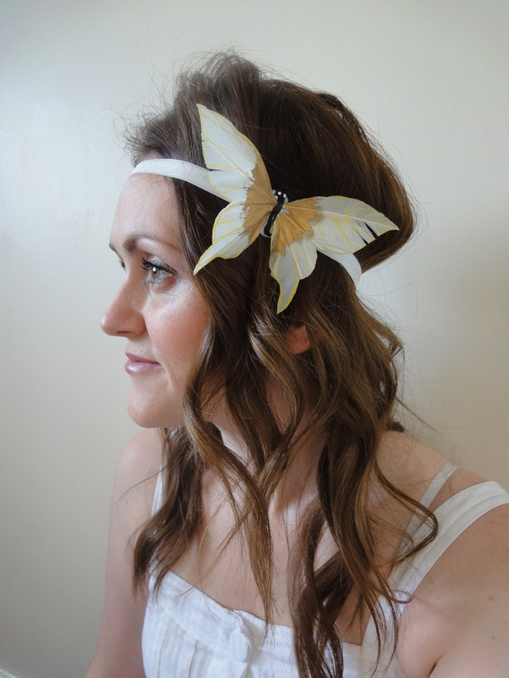 1920s Flapper Style Cream & Gold Feather Butterfly Elasticated Headband