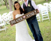 """Rustic Wooden Wedding Sign - """"Thank You"""""""