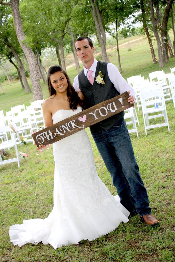 "Rustic Wooden Wedding Sign - ""Thank You"""