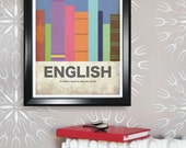 English 11x17 minimalism poster print - Graduation, Teacher Gifts - Home & Dorm Decor