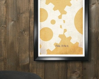 Mechanical Engineering 11x17 minimalism poster print - Graduation, Teacher Gifts - Home & Dorm Decor