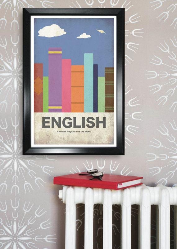 English 11x17 minimalism poster print - Graduation, Teacher Gifts - Home & Dorm Decor