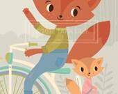 Animal Bike Ride Papa and Baby Fox Children's Nursery Art Gliclee Print