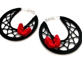 Black Crocheted Spider Hoops Earings Black with Red Yellow Butterfly Dangle Gossamer Jewelry for Summer