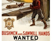 Bushmen and Sawmill Hands Wanted - 10x15 Vintage WWI Poster Art - Professional Paper, Archival Ink, Shipped Flat, Fits Standard Size Frame