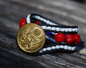 Patriotic Team USA Wrapped Leather Bracelet with Red Coral & Vintage Military Uniform Button