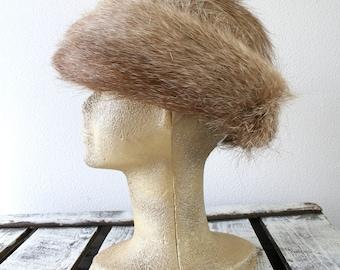 "Vintage fur hat in brown, mint fur hat, size 23"" (58cm), womens winter fashion"