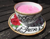 Hand painted wedding tea cup candle and saucer, personalised with names & date