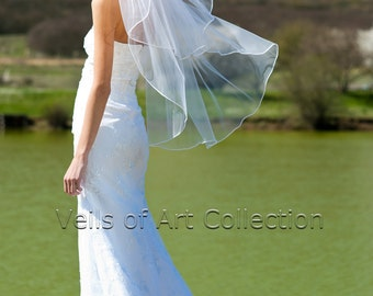 "2T Fingertip Bridal Wedding Veil 1/8"" Satin Cord Trim VE218 white, ivory NEW CUSTOM VEIL"