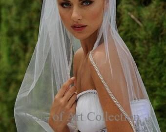 Designer One Tier Embroided Bridal Wedding Veil Fingertip Style VE305 NEW CUSTOM VEIL