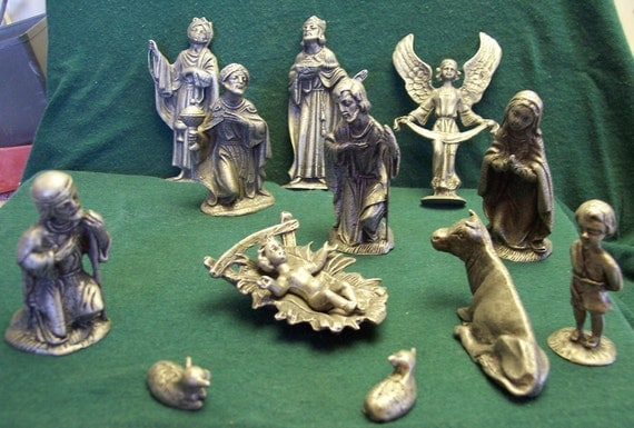 Nativity, Creche, 12 Piece Set, Antiqued, Handmade, Lead Free