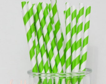 CLEARANCE - Striped Paper Drinking Straws (25) - GREEN APPLE - Includes Free Printable Straw Flags