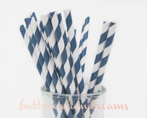 CLEARANCE - Striped Paper Drinking Straws (25) - NAVY BLUE - Includes Free Printable Straw Flags