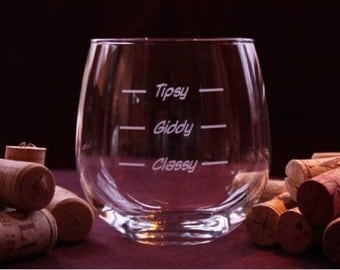 "EXCLUSIVE ""Classy-Giddy-Tipsy"" Graduated Wine Glasses"