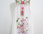 Mexican Embroidered Sundress Cotton Strapless In White With Lining Wedding Dress Boho Dress Maternity Dress