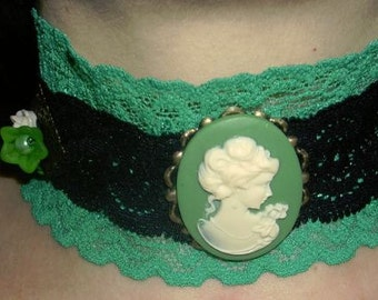 gothic,choker,victorian,necklace, cameo lady green and flowers