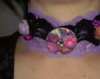 gothic ,choker,victorian,burlesque,necklace,multicolored button