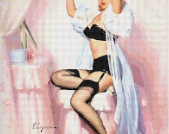 Pin-Up Cutting Her Hair Handmade 1950s Cross-Stitch Pattern