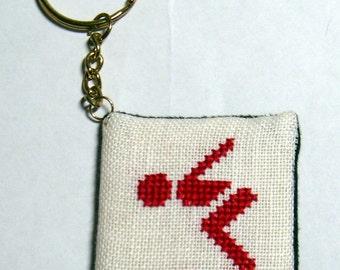 Swimming Take Off cross stitch key chain