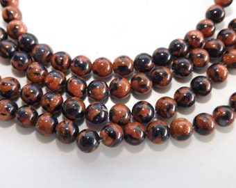 Goldstone 6mm round gemstone beads 7-1/2 inch strand