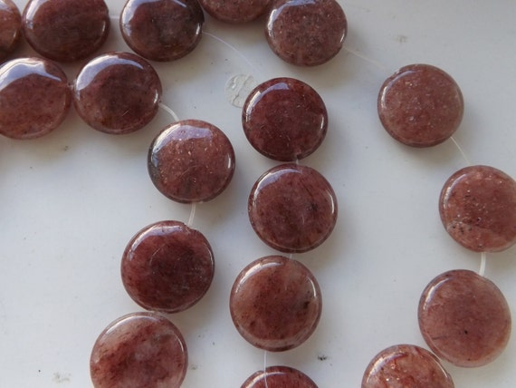Gold Sandstone Gemstone Beads flat 20mm round beads