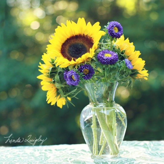 "10x10 Canvas Gallery Wrap-Fine Art Photography-""August Afternoon""- Sunflowers - Summer - Still Life-Yellow-Purple-Green"