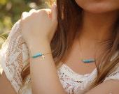 Cross bracelet / Turquoise beaded bracelet / Gold filled bracelet / Something blue / Bridesmaid jewelry / Layered gold bracelet   Galene