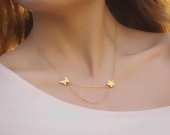 "Flower gold necklace, butterfly necklace, layering necklace, wedding bridal, gold vermeil, charm necklace, ""Callirhoe"" Necklace"
